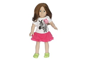 Zebra Top with Hot Pink Skirt by BFF Doll Company