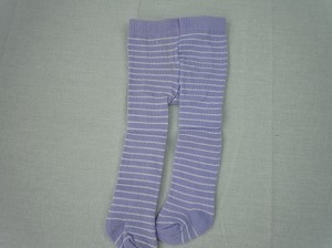 Lavender tights with white stripes