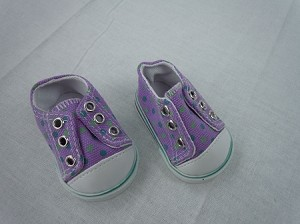 Purple laceless sneakers with dots by BFF Doll Company