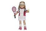 Tennis Top, Skirt, Shoes, Racquet, and Ball by BFF Doll Company